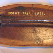 SALE PENDING Boy Scouts 1956 Scout Fair Weird Wood Wooden Tie Rack