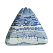 SALE Unusual Large Triangle  Antique Blue & White charger