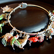 Loaded 1980's Sterling Silver Enameled Charm Bracelet > animals, plants, fairy