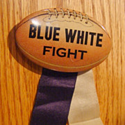 "Old Whitehead Hoag Football Pinback ""Blue White Fight"""