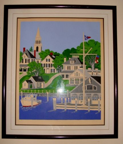 "Nantucket Artist Eric Holch Limited Edition Serigraph Print  ""Edgartown"""