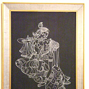 AMAZING Midcentury WIRE ART Picture Radha with Krishna AMAZING