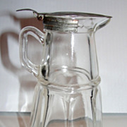 Clear Glass Depression Glass Syrup Pitcher with Tin Lid