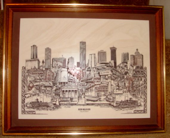 "Marble Etching of New Orleans ""City of Charm"" by Dennis Bivens 1975"