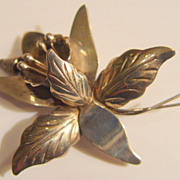 Mexican Taxco Sterling Silver Orchid Brooch