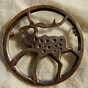 Vintage Sterling Silver Reindeer Brooch by Juhl Studio of Norway