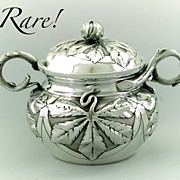 Antique French Sterling Silver Sugar Bowl by Alphonse Debain Art Nouveau Maple