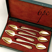 19C Antique French Sterling Silver Tea Coffee Demitasse Spoon Set Dolphin 6pc w/Box
