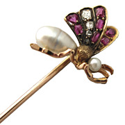 French 18K Gold Tie/Hat/Lapel Stick Pin Butterfly Art Nouveau Diamond Ruby Pearl