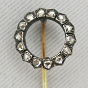 Antique French Gold Silver Tie/Hat/Lapel Stick Pin with Diamond Circle