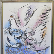 "Zamy Steynovitz ""Peace"" Original Mixed Media on Paper Signed Israeli Jewish Artist"