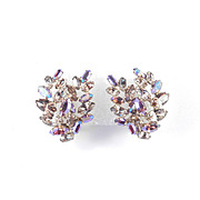 Sherman Double Leaf Overlay Rhinestone Earrings