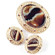Alice Caviness Rhinestone Faux Striped Agate Art Glass Brooch Pin / Pendant Earrings Demi Paru