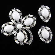 Vintage Marvella Rhinestone Milk  Glass Brooch Pin Earrings Demi Parure Set Rhodium Plate