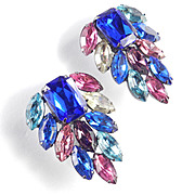 Vintage Thelma Deutsch Rhinestone Fashion Earrings