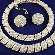 Vintage Trifari Faux Pearl Necklace Bracelet Earrings Parure Set