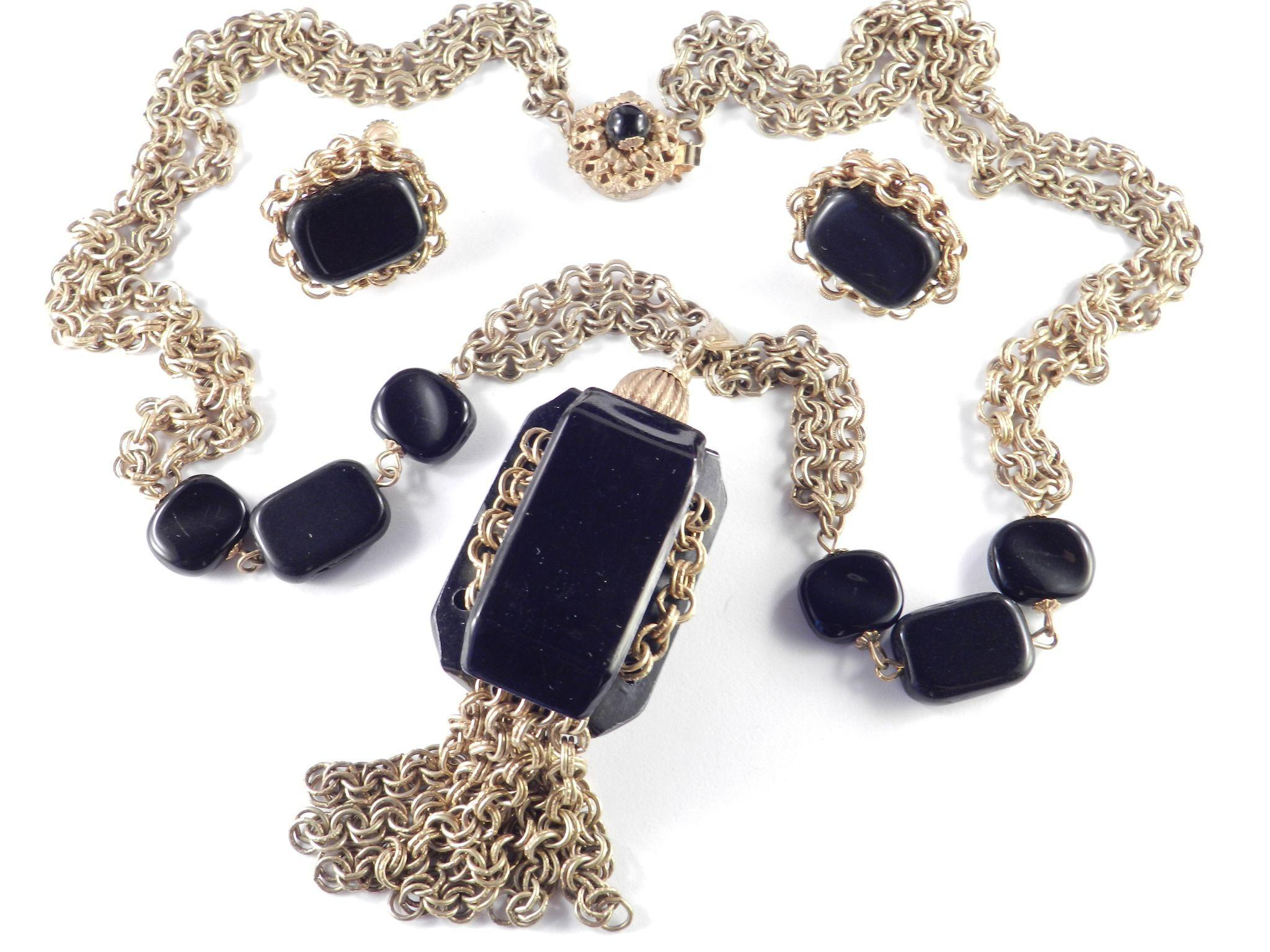 Miriam Haskell Glass Bead Black Slab Tassel Pendant Necklace Russian Goldtone