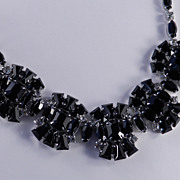 Joseph Wiesner New York Rhinestone / Black Art Glass Necklace