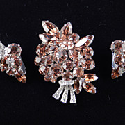 Weiss Golden Topaz Colored Rhinestone Brooch Pin Earrings Demi Parure Set Rhodium Plate