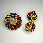 Vintage 1963 Trifari Cavalcade Rhinestone Brooch Pin Earrings Set  Pristine