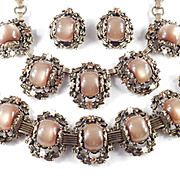 Chunky Moonglow Lucite Rhinestone Necklace Bracelet Earrings Set Parure