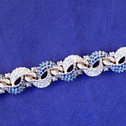 CINER Crystal Rhinestone Faux Sapphire Articulated Link Bracelet 1960s