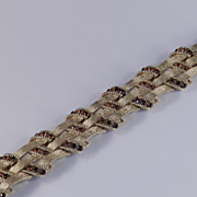 Crown Trifari Basket Weave Rhinestone Bracelet