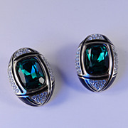 Vintage Daniel Swarovski Crystal Rhinestone & Enamel Earrings