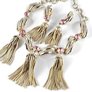 Schiaparelli Necklace Earrings Demi Parure Set Shocking Pink Rhinestone / Tassel /  Original B