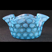 "Phoenix blue opalescent BABY COINSPOT finger bowl, 5 1/8"" d."
