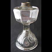 "U. S. Glass Company INTAGLIO SUNFLOWER oil lamp, 10"" h. xxxxxx"