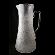 "English crackle art glass tankard pitcher, 11 1/2"" h."