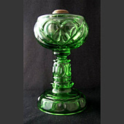 "Tarentum green HEART WITH THUMBPRINT oil lamp, 9 3/4"" h."