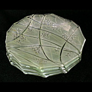 "Consolidated green stained crystal LINE 700 plates, 8 1/4"" d., set of 4"