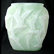 "Consolidated green stained cased SEAGULL vase, 10 3/4"" h."