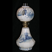 Mount Washington signed DELFT miniature oil lamp