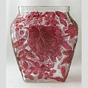 "Consolidated magenta stained CHICKADEE vase, 6 1/2"" h."
