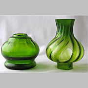 Green optic rib art glass miniature oil lamp base and shade