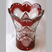 "SOLD Bohemian ruby stained cut glass vase, 8 1/4"" h."