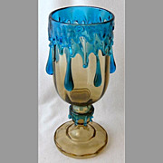 "SOLD Bohemian art glass Kralik blue drip amber glass footed vase, 10"" h."