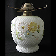 "Decorated milk glass COSMOS variant oil lamp base, 6 1/2"" d."
