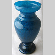 "SOLD Bohemian art glass ice flow cased blue vase, 9 1/4"" h."