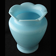 "SOLD McKee blue opaque (milk glass) SARAH vase, 8"" h."