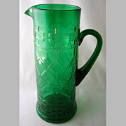 "Dugan green filagree tankard pitcher, 11 1/2"" h."