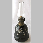 "Enameled black ACORN miniature oil lamp base, 3 7/8"" h."