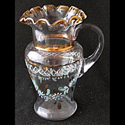 "Victorian enameled toy glass blown tankard pitcher, 4 1/4"" h."