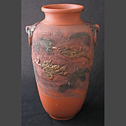 SOLD Japanese Tokoname redware DRAGON vase, 12&quot; h.