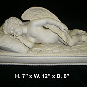 Fine Antique  White Bisque of Sleeping Cupid