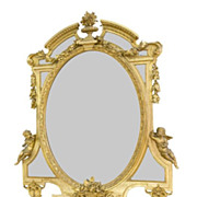 19c. Oval Napoleon III Style Giltwood Mirror with Two Cherubs