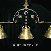 Circa 1900 Unusual Hand Forged Wrought Iron and Bronze 3 light Billiards chandelier